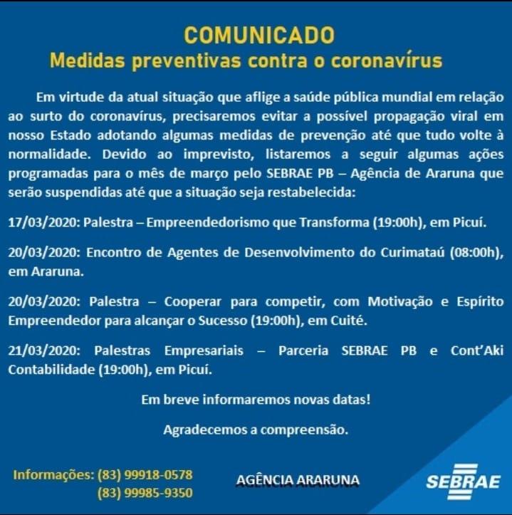 Sebrae cancela palestra sobre Empreendedorismo que seria realizada hoje, 17 de março