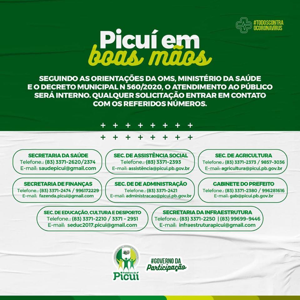Prefeitura Municipal de Picuí Disponibiliza Contatos das Secretarias para a População