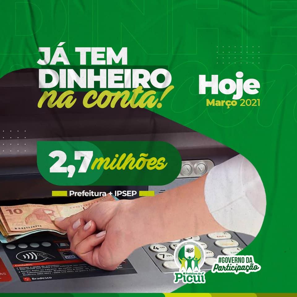 Dinheiro nas Contas: Prefeitura de Picuí efetua Pagamento dos Servidores Públicos Municipais e IPSEP