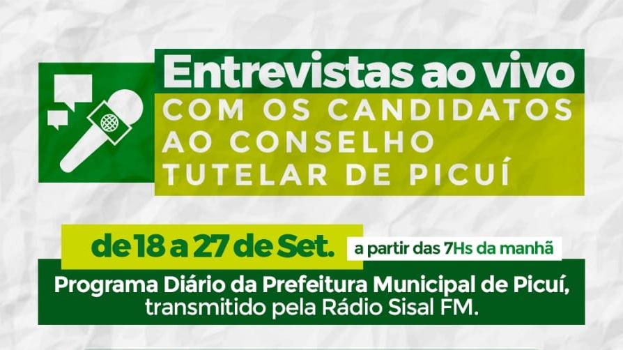 Programa Jornal Municipal realiza entrevistas com candidatos ao Conselho Tutelar de Picuí