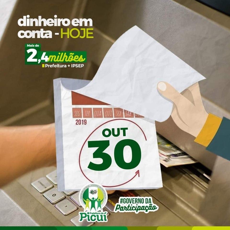 Prefeitura de Picuí paga 36º folha de servidores em dia