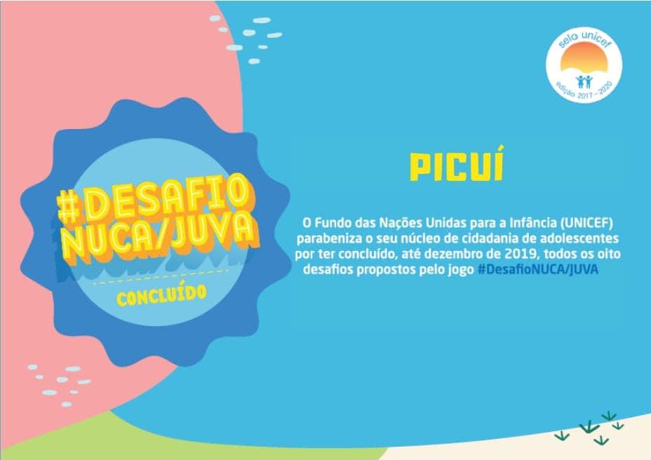 NUCA Picuí é Certificado pelo #Desafio NUCA/JUVAS do Selo UNICEF