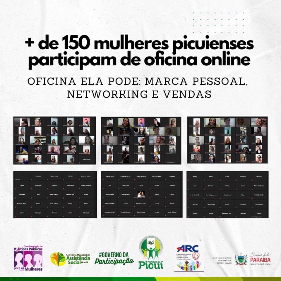 + de 150 mulheres picuienses participam de Oficina online