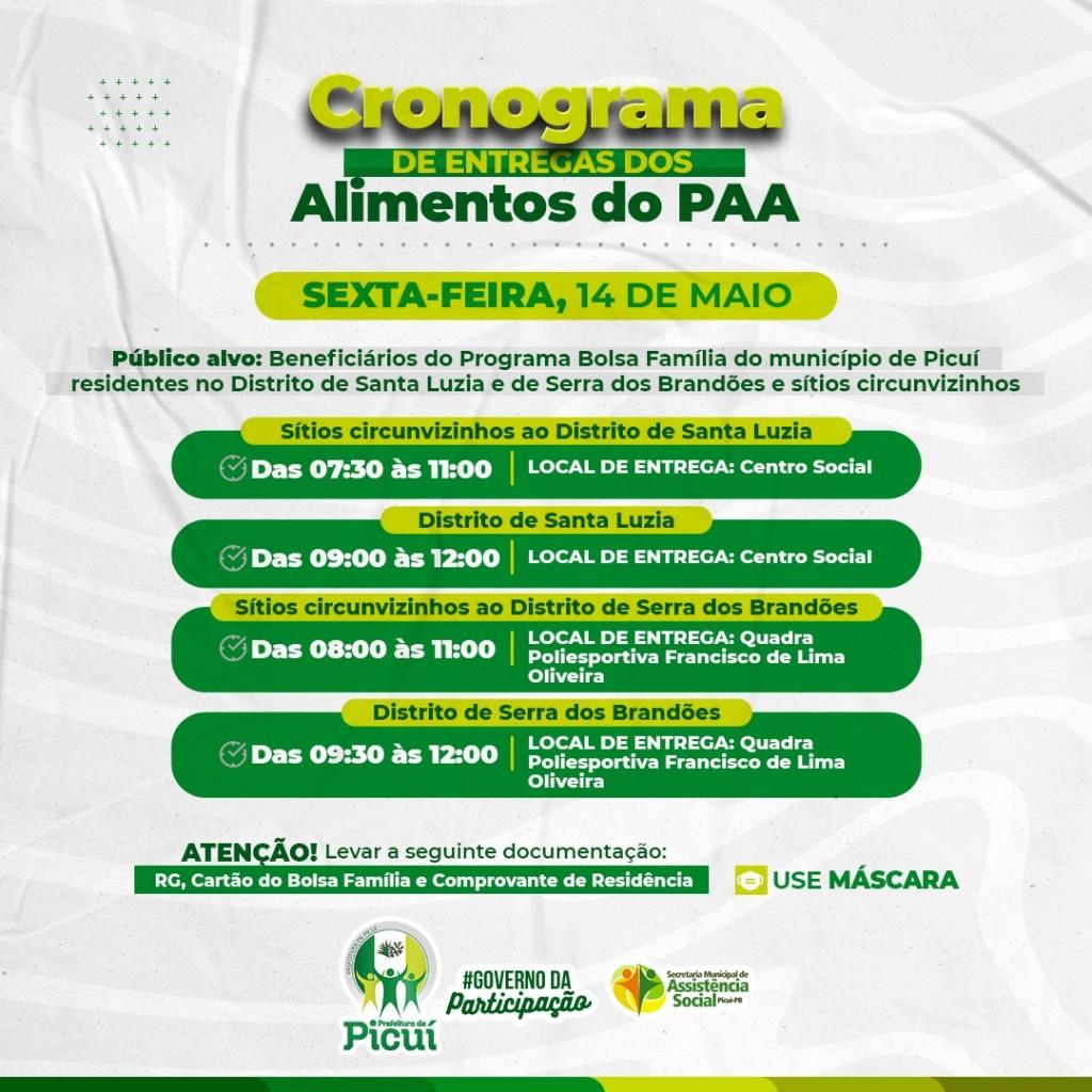 Prefeitura de Picuí Estabelece Cronograma de Entrega dos Alimentos do PAA para os Beneficiários do Bolsa Família