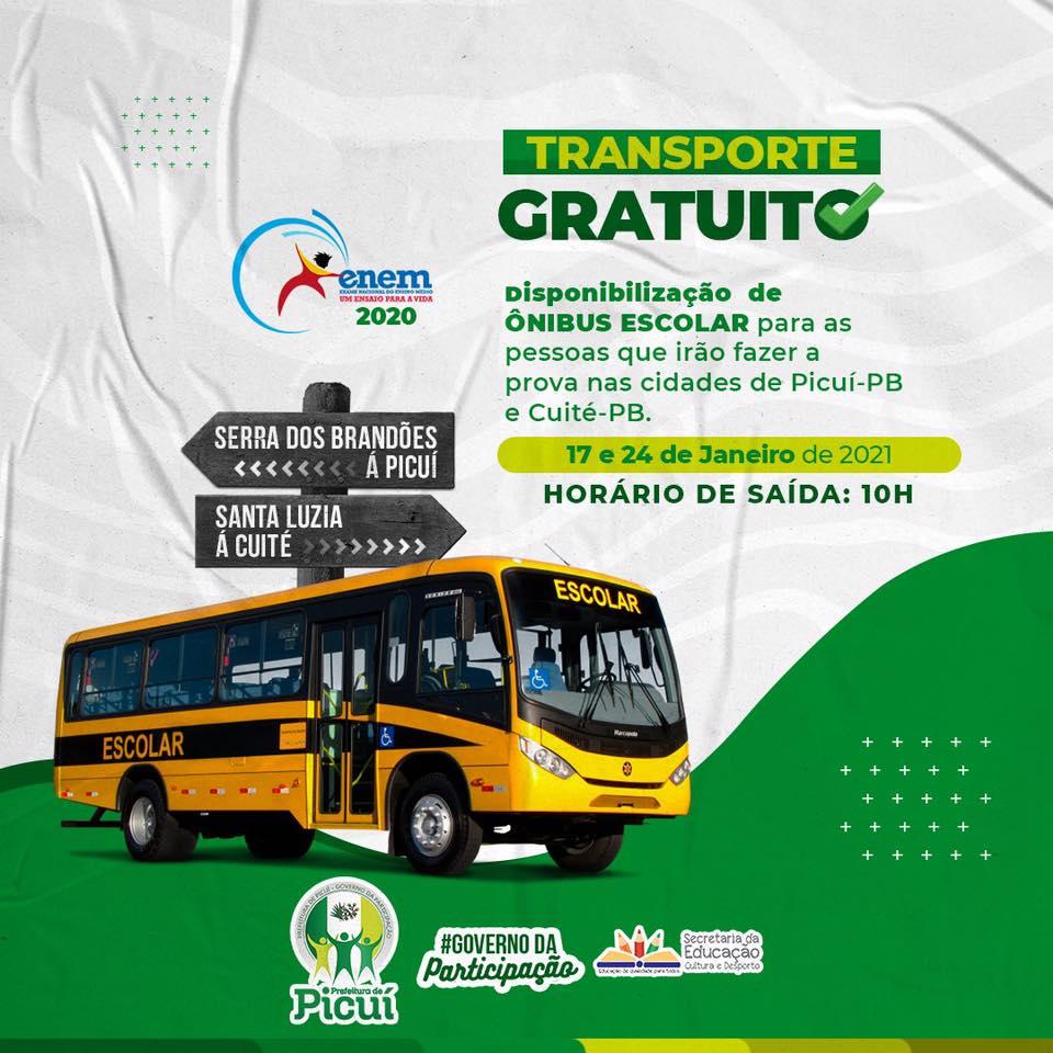 Prefeitura de Picuí Disponibiliza Ônibus para Estudantes do Município que Prestarão ENEM nos dias 17 e 24 de Janeiro