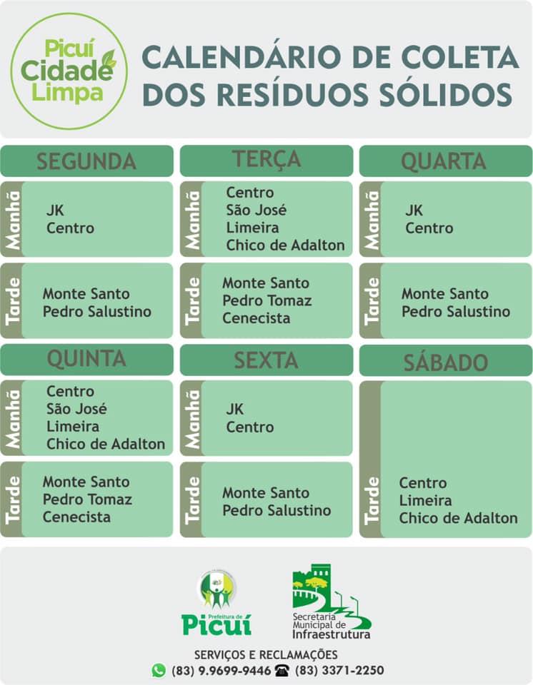 O Calendário de Coleta dos Resíduos Sólidos na Zona Urbana do Município Segue a sua Normalidade